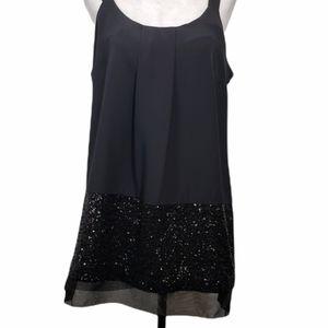 Simply Vera Black Sleeveless Sequin Blouse Medium